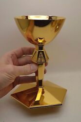 + Nice Older Antique All Sterling Silver Chalice + All 24k Goldplated + Cu88