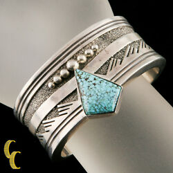 Designer Abraham Begay Native American Sterling Silver Cuff Turquoise Stone