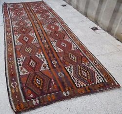 4.4x11.8 Foot Large Multi Colored Diamond Pattern Turkish Hall Kilim  Rug Runner