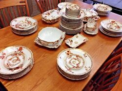 Haviland And Co For Wood Bicknall And Potter China Set Orange Flowers Gilded