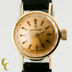 18k Yellow Gold Candino Womenand039s Vintage Hand-winding Watch W/ Black Leather Band
