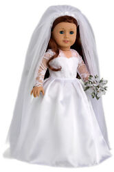 Princess Kate - 18 Inch Doll Clothes, Royal Wedding Dress Tulle Veil Shoes