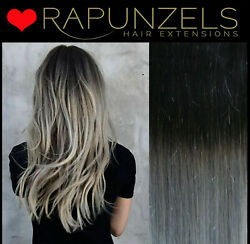 Black To Grey Silver Ombre Weaving Hair Weft Long Lasting Wefted Root Fade Remy