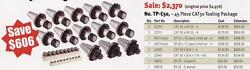 Techniks Cnc Cat 50 Tooling Package 45 Pc Collet Chucks