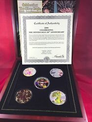 2006 Morgan Mint 20th Anniversary Silver Eagle Set Holo Gold Plated Colorized