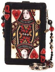 Mary Frances Handbag Lucky Lady Black Queen Red Card Alice Bead Jewel Shoulder