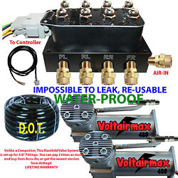 V Accu-rate-air Manifold Air Suspension 3/8=50and039 Airline Dual Dc100 Compressor
