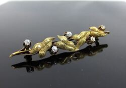 Antique 0.75ct Old Mine Cut Diamond Hand Carved 18k Yellow Gold Floral Brooch