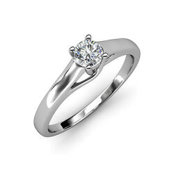 Diamond Solitaire Engagement Ring 0.50 Ct In 14k Gold Jp82834
