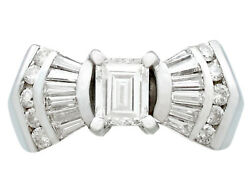 Vintage 1.36 Ct Diamond and 18k White Gold Dress Ring Art Deco Style