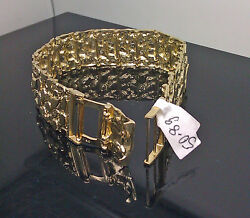 New 10k Yellow Gold Menand039s Nugget Link Bracelet 8 With Custom Lock Menand039s/ Women