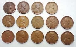 Lot Of 14 Wheat Penny Us 1914-20-26-35-38-39-41-44-45-46-47-50-51-53d