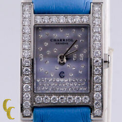 Womenand039s Charriol Megeve Watch Diamond Bezel And Dial Quartz Blue Leather Band