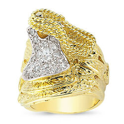 9ct Gold Heavy Solid Cz Saddle Ring Belt Shot Knot Cowboy Band Boxed