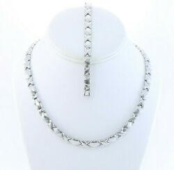 Hugs And Kisses Necklace Bracelet Set Stampato Stainless Steel Silver Tone 18