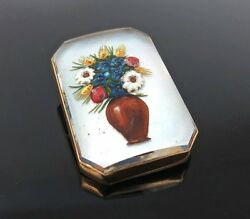 Antique Floral Bouquet Essex Crystal 14k Yellow Gold Brooch