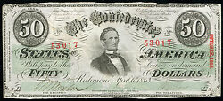 T-57 1863 50 Fifty Dollars Csa Confederate States Of America About Unc
