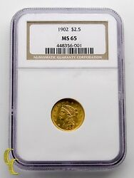 1902 Gold 2.50 Quarter Eagle Liberty Head Coin Graded By Ngc Ms-65