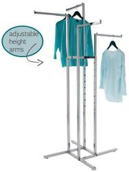 4-way Clothing Garment Display Rack With 4 Straight Arms 1 Square   Chrome