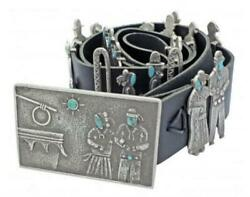 Lee Begay Sterling and Turquoise Song and Dance Concho Belt 47 in
