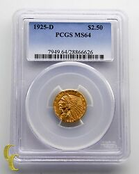 1925-d 2.50 Quarter Eagle Gold Coin Indian Head Graded By Pcgs As Ms-64