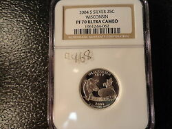 2004-s Silver Wisconsin Quarter Ngc Proof 70 Ultra Cameo- Awesome Coin-frosty