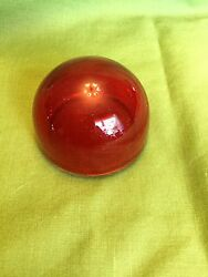 Antique Grimes Aircraft Glass Light Lens 2 Red Without Mounting Tits - Rare