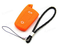 Orange Silicone Case Cover For BMW Remote Smart Key 3 Buttons 3 5 Series B35OR