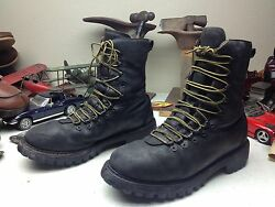 Distressed Herman Survivors Usa Black Leather Lace Up 20 Below Cold Boots 10 Ee
