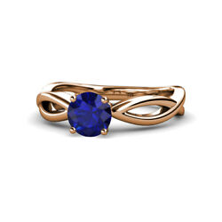 Blue Sapphire Infinity Solitaire Engagement Ring 0.95 Ct 14k Rose Gold Jp111341