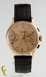 Vintage Menand039s Chronograph Fairfax 18k Yellow Gold Case W/sub Dials And Tachymeter