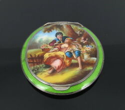 Antique Austrian Painted And Guilloche Enamel Scenery Sterling Silver Powder Case