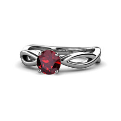 Ruby Infinity Solitaire Engagement Ring 0.95 Carat In 14k White Gold Jp111387