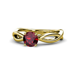 Ruby Infinity Solitaire Engagement Ring 0.95 Carat In 14k Yellow Gold Jp111388