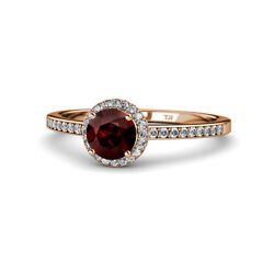 Red Garnet And Diamond Halo Engagement Ring 1.50 Ct Tw In 14k Rose Gold Jp115173