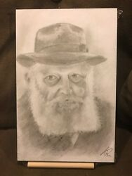 A Handmade Portrait Picture Of Chabad Lubavitch Rebbe Drawing In Pencil Framed