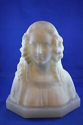 1925 Alabaster Bust   Signed And Dated By Artist Italy Ca. 1925, Annunziata