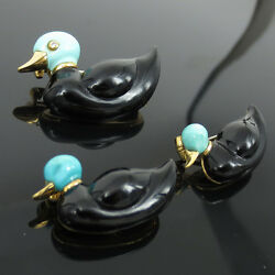 Three 3 Vintage Natural Diamond Turquoise And Onyx 18k Yellow Gold Duck Pins
