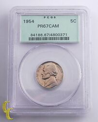 1954 Jefferson Nickel 5andcent Grade By Pcgs Pr 67 Cameo Green Vintage Holder