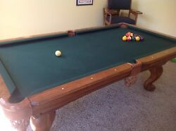 Slightly Used Pool Table With The Sticks, Balls, And Cue Rack