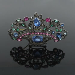 Antique Rose Cut Diamond Sapphire Ruby Emerald And Zircon Silver And Gold Brooch