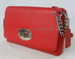 NWT Coach Crosstown Crossbody In Polished Pebble Leather in True Red #53083 $139.00