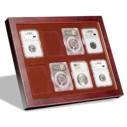 Display Coin Case Mahogany Style Frame Box 8 For Slab Desk Office Wall Mounting