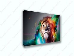 Abstract Lion in Color Splash Canvas Print Animals Art Home Decor Wall Art