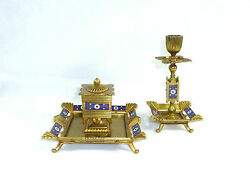Inkwell And Candle Holders France/switzerland About 1860 Bronze Enamel