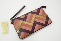 NWT Michael Kors Marquertry Patchwork Daniela Leather Clutch  Wristlet in Plum