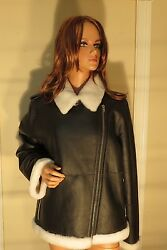 NWT WOMENS AUTHENTIC KATE SPADE BLACK LEATHER SHEARLING JACKET COAT XXL $1698.00