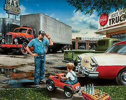 Semi Truck Driver Poster Print Mack Route 66 Vintage Parts Office Wall Art Decor