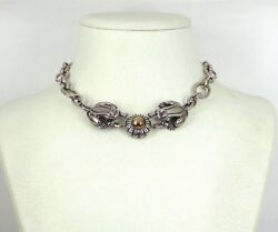 2003 Barry Kieselstein Cord Frogs And Flower Sterling Silver And 14k Gold Necklace