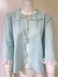 Lucie Ann Beverly Hills Vintage Pointelle Aqua Bed Jacket With Peter Pan Collar